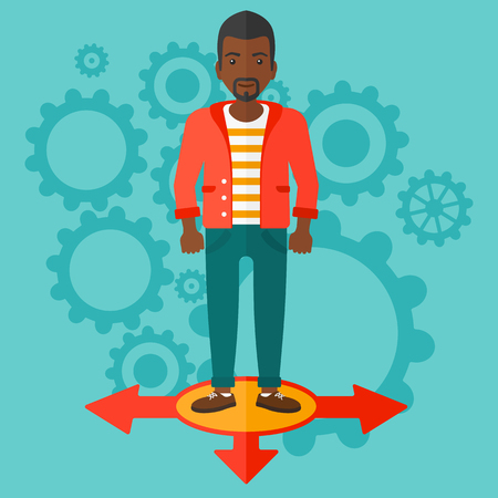 hesitate: An african-american man standing on three alternative ways on a blue background with cogwheels vector flat design illustration. Square layout. Illustration