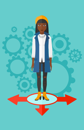 hesitate: An african-american woman standing on three alternative ways on a blue background with cogwheels vector flat design illustration. Vertical layout. Illustration