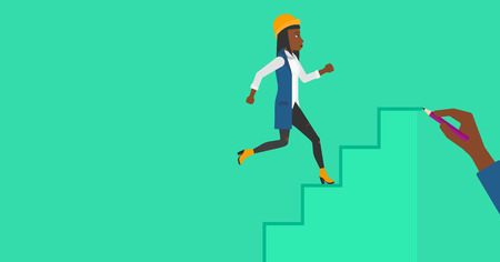woman stairs: An african-american woman running up the stairs drawn by hand with pencile on a green background vector flat design illustration. Horizontal layout. Illustration