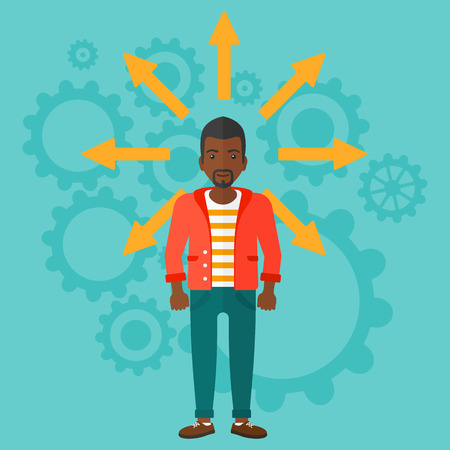 An african-american man with many arrows around him on a blue background with cogwheels vector flat design illustration. Square layout.