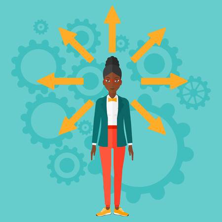 african business: An african-american woman with many arrows around her on a blue background with cogwheels vector flat design illustration. Square layout.