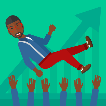 An african-american businessman get thrown into the air by coworkers during celebration on a green background with increasing chart vector flat design illustration. Square layout.