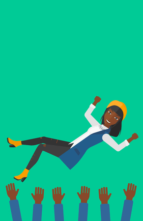 hands lifted up: An african-american business woman get thrown into the air by coworkers during celebration on a green background vector flat design illustration. Vertical layout.