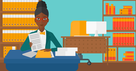 An african-american human resources manager reading application portfolios on the background of office vector flat design illustration. Horizontal layout.
