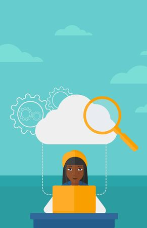 woman laptop: An african-american woman working on laptop and a cloud, loupe and gears above her on the background of blue sky vector flat design illustration. Vertical layout.