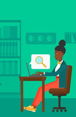 woman laptop: An african-american business woman sitting in the office and doing an internet search using a laptop on the background of office vector flat design illustration. Vertical layout.