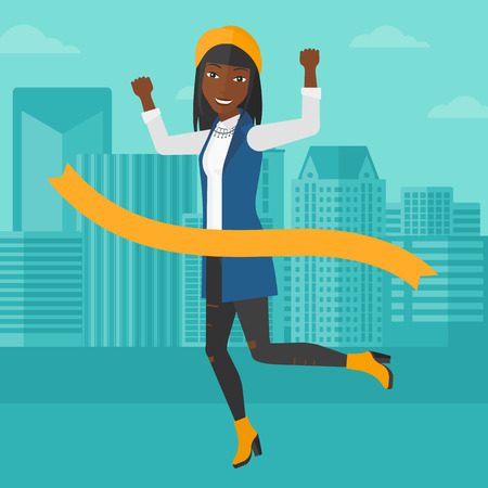 concurrence: An african-american woman running through finishing line on the background of modern city vector flat design illustration. Square layout.