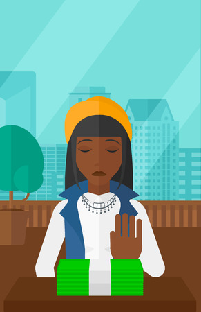 moving office: An african-american woman moving dollar bills away and refusing to take a bribe on the background of panoramic modern office with city view vector flat design illustration. Vertical layout. Illustration
