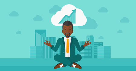 man meditating: An african-american man meditating in lotus pose and thinking about the growth graph  on the background of modern city vector flat design illustration. Horizontal layout.
