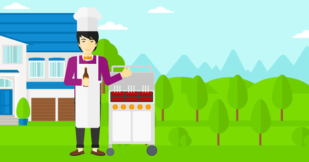 front yard: An asian man standing next to barbecue grill in the yard in front of house and holding a bottle in hand and showing thumb up vector flat design illustration. Horizontal layout. Illustration