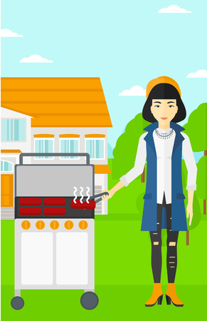 front yard: An asian woman preparing barbecue in the yard in front of house vector flat design illustration. Vertical layout. Illustration