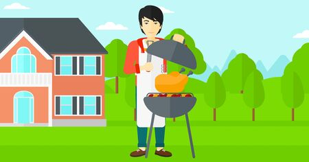 yard: An asian man cooking chicken on barbecue in the yard in front of house vector flat design illustration. Horizontal layout. Illustration