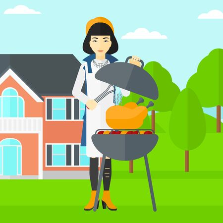 front yard: An asian woman cooking chicken on barbecue in the yard in front of house vector flat design illustration. Square layout.
