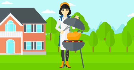 front yard: An asian woman cooking chicken on barbecue in the yard in front of house vector flat design illustration. Horizontal layout.