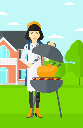 front yard: An asian woman cooking chicken on barbecue in the yard in front of house vector flat design illustration. Vertical layout.