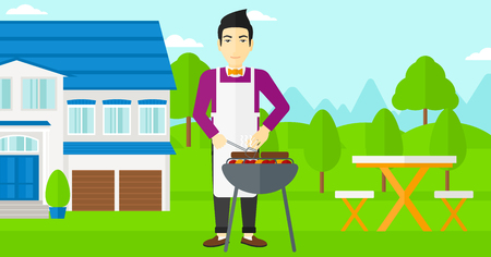 front yard: An asian man preparing barbecue in the yard in front of house vector flat design illustration. Horizontal layout.