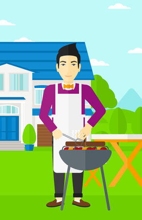 front yard: An asian man preparing barbecue in the yard in front of house vector flat design illustration. Vertical layout. Illustration