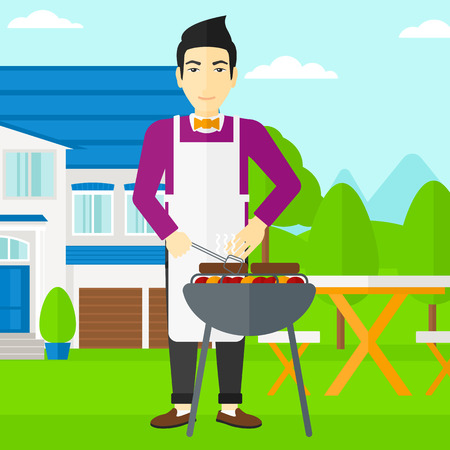 front yard: An asian man preparing barbecue in the yard in front of house vector flat design illustration. Square layout.