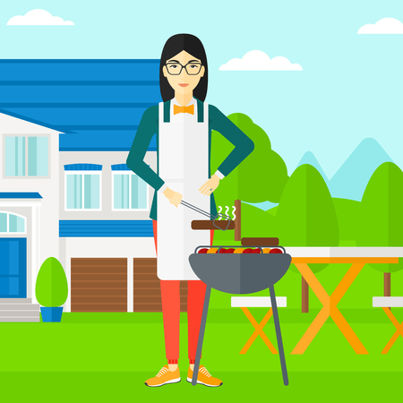 front yard: An asian woman preparing barbecue in the yard in front of house vector flat design illustration. Square layout.