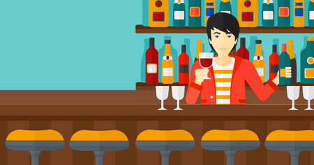 bar counter: An asian bartender standing at the bar counter and holding a bottle and a glass in hands vector flat design illustration. Horizontal layout.