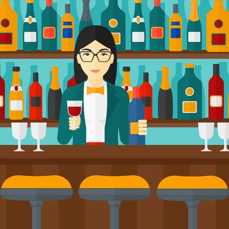 Un barman asiatique debout au comptoir de bar et tenant une bouteille et un verre dans les mains vecteur design plat illustration. layout Square. Banque d'images - 54345395