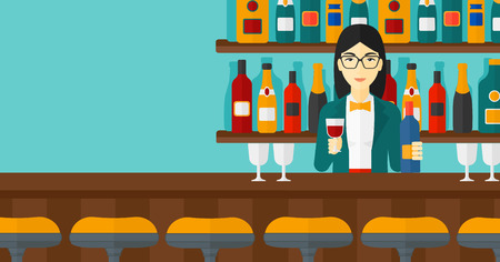 bartender: An asian bartender standing at the bar counter and holding a bottle and a glass in hands vector flat design illustration. Horizontal layout.