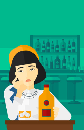 sorrowful: An asian sad woman sitting at the table with a bottle and a glass at the bar vector flat design illustration. Vertical layout.