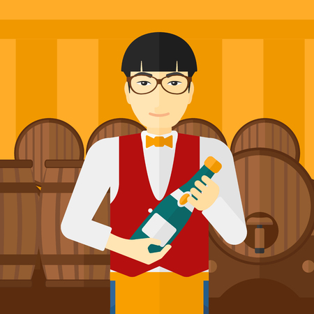 wine cellar: An asian waiter standing in wine cellar and holding a bottle in hands vector flat design illustration. Square layout.