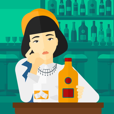 brandy: An asian sad woman sitting at the table with a bottle and a glass at the bar vector flat design illustration. Square layout. Illustration