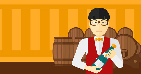 wine cellar: An asian waiter standing in wine cellar and holding a bottle in hands vector flat design illustration. Horizontal layout. Illustration