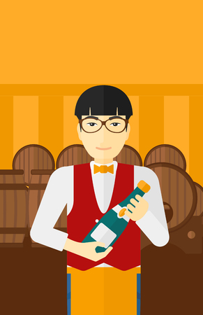 wine cellar: An asian waiter standing in wine cellar and holding a bottle in hands vector flat design illustration. Vertical layout.