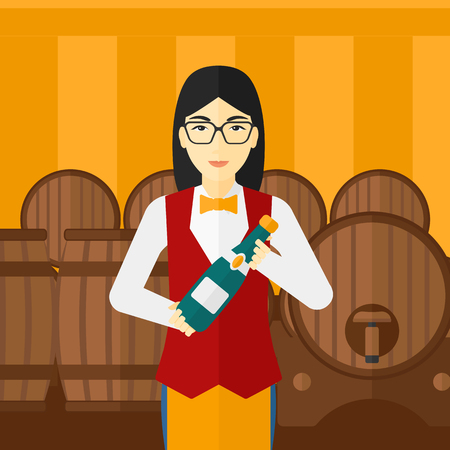 steward: An asian waitress standing in wine cellar and holding a bottle in hands vector flat design illustration. Square layout.