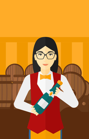 wine cellar: An asian waitress standing in wine cellar and holding a bottle in hands vector flat design illustration. Vertical layout. Illustration