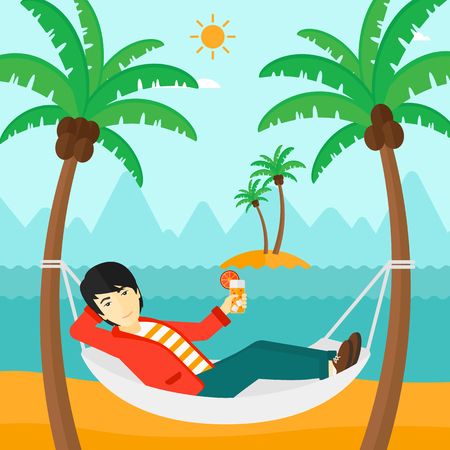 chilling: An asian man chilling in hammock on the beach with a cocktail in a hand vector flat design illustration. Square layout.