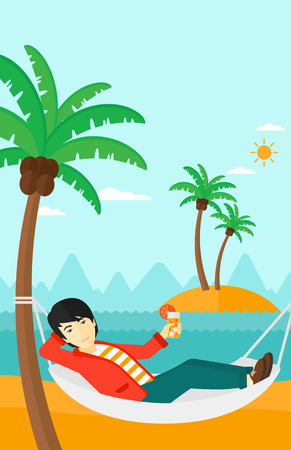 chilling: An asian man chilling in hammock on the beach with a cocktail in a hand vector flat design illustration. Vertical layout.