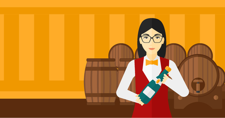 An asian waitress standing in wine cellar and holding a bottle in hands vector flat design illustration. Horizontal layout.