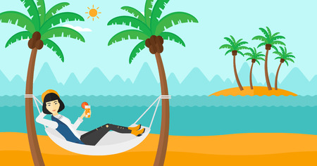 chilling: An asian woman chilling in hammock on the beach with a cocktail in a hand vector flat design illustration. Horizontal layout.