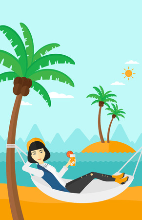 chilling: An asian woman chilling in hammock on the beach with a cocktail in a hand vector flat design illustration. Vertical layout.