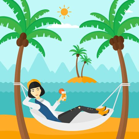 hand tree: An asian woman chilling in hammock on the beach with a cocktail in a hand vector flat design illustration. Square layout. Illustration