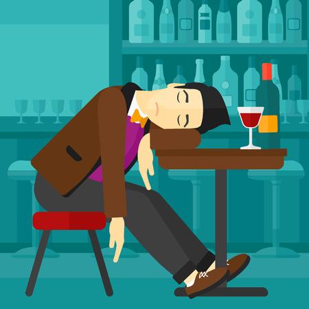 Ein asiatischer Mann an der Bar am Tisch schlafen mit einem Glas und einer Flasche auf sie Vektor flache Design-Illustration. Platz Layout.