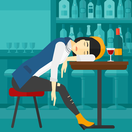 An asian woman sleeping at the bar at the table with a glass and a bottle on it vector flat design illustration. Square layout. Illustration