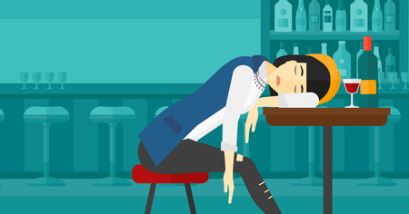 An asian woman sleeping at the bar at the table with a glass and a bottle on it vector flat design illustration. Horizontal layout.