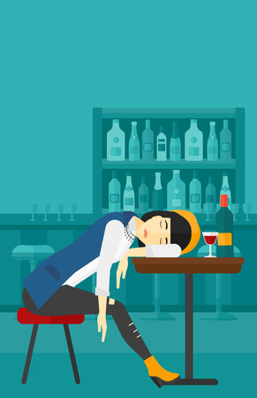 An asian woman sleeping at the bar at the table with a glass and a bottle on it vector flat design illustration. Vertical layout.