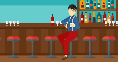bar counter: An asian man sitting near the bar counter and holding a glass vector flat design illustration. Horizontal layout. Illustration