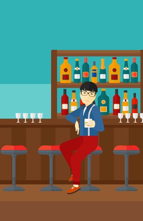 vertical bar: An asian man  sitting near the bar counter and holding a glass vector flat design illustration. Vertical layout.