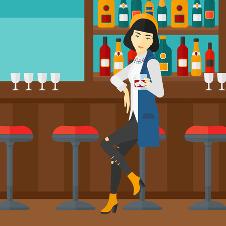 bar counter: An asian woman sitting near the bar counter and holding a glass vector flat design illustration. Square layout. Illustration