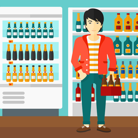 An asian man standing in the supermarket and holding a pack of beer vector flat design illustration. Square layout.