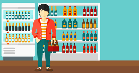 intoxicant: An asian man standing in the supermarket and holding a pack of beer vector flat design illustration. Horizontal layout.