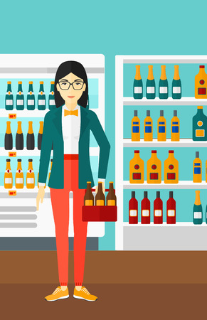 An asian  woman standing in the supermarket and holding a pack of beer vector flat design illustration. Vertical layout.