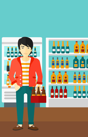 An asian man standing in the supermarket and holding a pack of beer vector flat design illustration. Vertical layout. Illustration